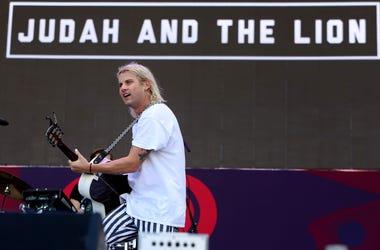 Judah Akers lead singer of Judah and the Lion performs