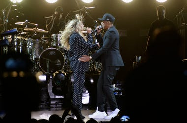 Beyonce and Jay Z perform on stage during a Get Out The Vote concert in support of Hillary Clinton at Wolstein Center on November 4, 2016 in Cleveland, Ohio. With less than a week to go until election day.