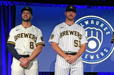 Milwaukee Brewers players Ryan Braun, left, Brandon Woodruff, Brent Suter and Keston Hiura show off the new team uniforms. Mjs Brewers 2