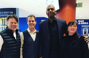 Ron Olson and Karen Perrin with Coach Penny at Soup Sunday 2019
