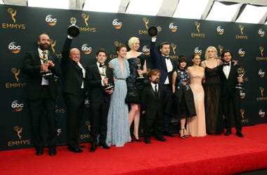 The cast of Game of Thrones pose with their Awards for Outstanding Drama Series in the photo room during 68th Emmy Awards at the Microsoft Theater.