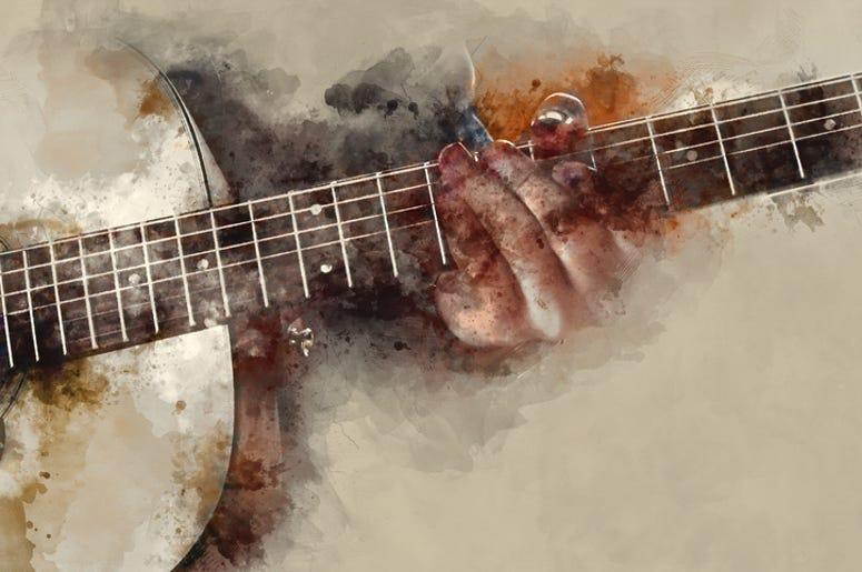 guitar watercolor