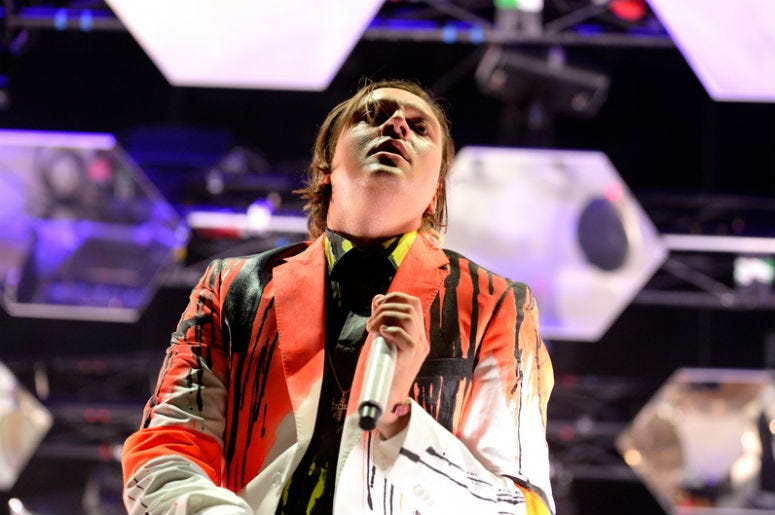 BARCELONA - MAY 29: Arcade Fire indie rock band performs at Heineken Primavera Sound 2014