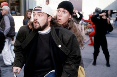 Actors Kevin Smith and Jason Mewes perform in the movie 'Jay and Silent Bob Strike Back'