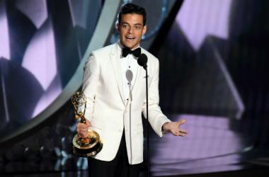 Rami Malek accepts the award for Outstanding Lead Actor In A Drama Series for his role in Mr. Robot during 68th Emmy Awards at the Microsoft Theater