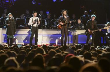 The Lumineers perform during the 94th annual lighting of the National Christmas Tree on the Ellipse of the National Mall, In Washington, DC on December 1, 2016