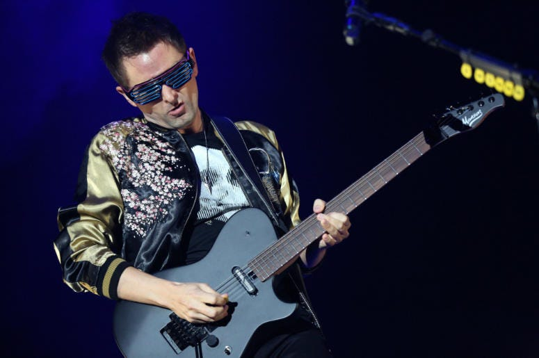 Matt Bellamy of Muse performing during KROQ's Almost Acoustic Christmas Show in Los Angeles, CA.