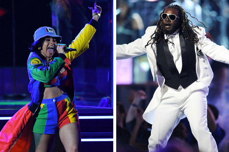 Cardi B performs Finesse during the 60th Annual Grammy Awards / T-Pain performs at the 52nd annual Grammy Awards