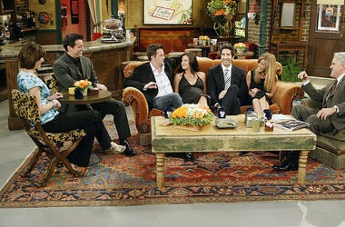 "the cast of ""Friends"", actors Lisa Kudrow, Matt LeBlanc, Matthew Perry, Courteney Cox-Arquette, David Schwimmer and Jennifer Aniston sat down with Jay Leno for a special ""Tonight Show,"""