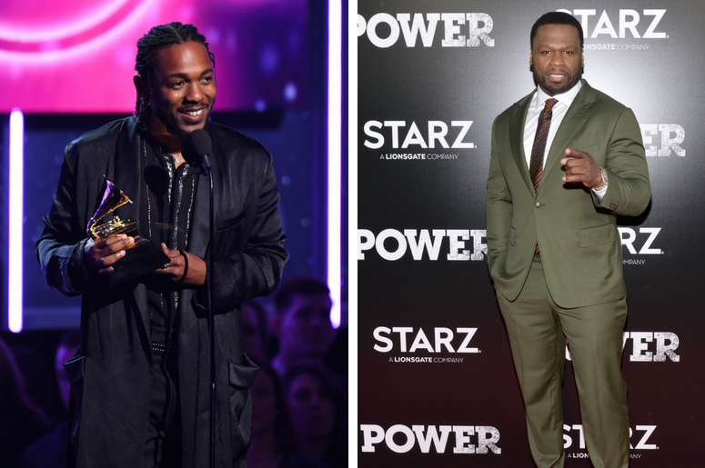 """Kendrick Lamar accepts Best Rap Album during the 60th Annual Grammy Awards at Madison Square Garden / Curtis """"50 Cent"""" Jackson attends the Season 5 World Premiere of """"Power"""" at Radio City Music Hall in New York, NY, on June 28,2018."""