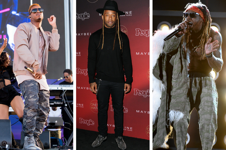"Jeremih (Jeremy Felton) at Daytime Village on September 24, 2016, in Las Vegas, Nevada. / Ty Dolla Sign. 2017 People's ""One's to Watch"" Event held at NeueHouse Hollywood /  Lil Wayne performs on the 2017 Billboard Music Awards at the T-Mobile Arena"
