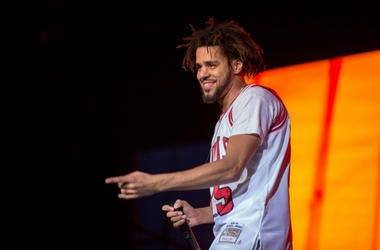 July 28, 2016; Chicago, IL, USA; Recording artist J. Cole (Jermaine Lamarr Cole) performs live during Lollapalooza Music Festival at Grant Park.