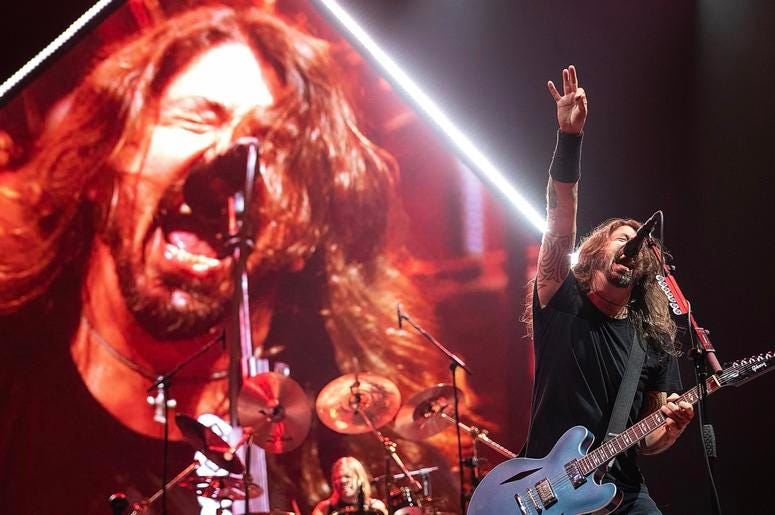 Dave Grohl on tour with the Foo Fighters