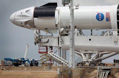 Crew Dragon Capsule Atop SpaceX Falcon 9 Rocket Moves Into Position