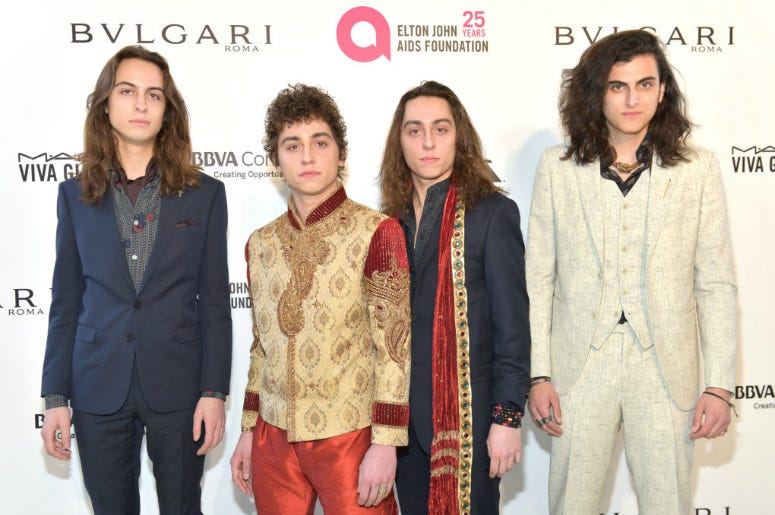 Sam Kiszka, Josh Kiszka, Jake Kiszka and Danny Wagner of Greta Van Fleet attend the 26th annual Elton John AIDS Foundation's Academy Awards Viewing Party at The City of West Hollywood Park on March 4, 2018 in West Hollywood, California.
