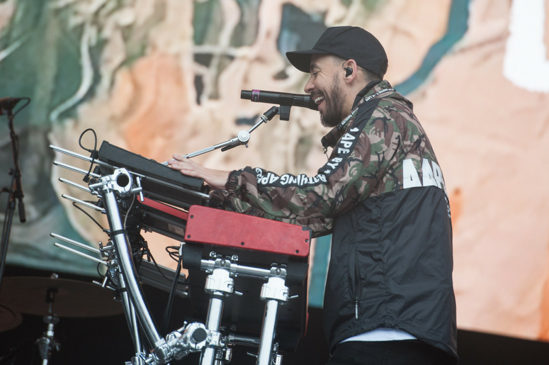 Mike Shinoda performs on stage on day 3 of Leeds Festival in Bramham Park in Leeds