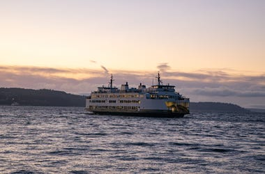 Washington State Ferry Leaves Mukilteo for Clinton, WA