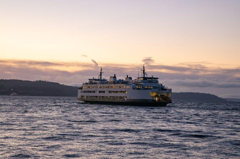 Washington State Ferry Leaves Mukilteo for Clinton, WA