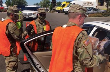 US National Guard Distributing Food Boxes