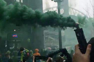 Smoke Bomb at the March to the Match