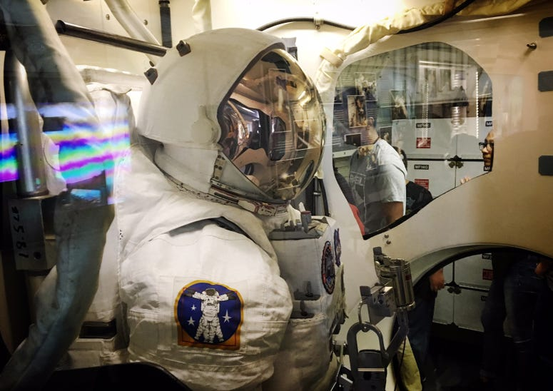 This space suit is in the airlock aboard the replica shuttle Independence