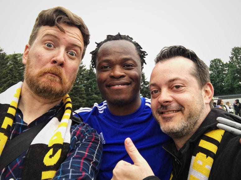 A couple dummies with Steve Zakuani