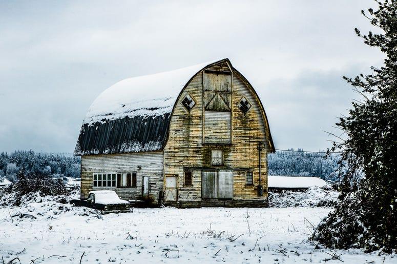 Snowy Snohomish Barn