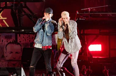 """Musicians from Linkin Park; Mike Shinoda and Joe Hahn perform with MAchine Gun Kelly during the """"Linkin Park And Friends Celebrate Life In Honor Of Chester Bennington"""" concert at the Hollywood Bowl on October 27, 2017 in Hollywood, California."""