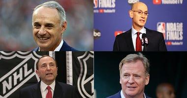 Adam Silver, Rob Manfred, Roger Goodell, NFL, NBA, MLB, sports, coronavirus, Dirt and Sprague, 1080 The FAN, KFXX-AM