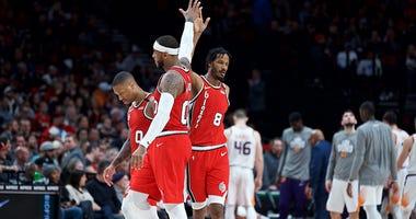 Damian Lillard, Carmelo Anthony, Trevor Ariza, Portland Trail Blazers