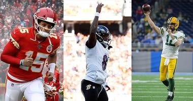 Lamar Jackson, Patrick Mahomes, Aaron Rodgers, NFL