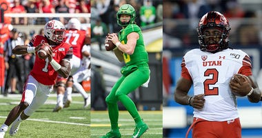 Justin Herbert, Tyler Huntley, Zack Moss, Oregon Ducks Utah Utes