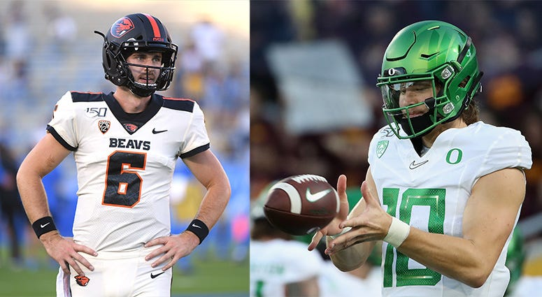 Oregon Ducks Football, Oregon State Beavers Football, Jake Luton, Justin Herbert