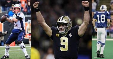 Drew Brees, Peyton Manning, Tom Brady