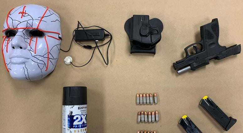 These are items found with one of the people arrested during demonstrations Thursday night downtown. (Photo Credit: Richmond Police)