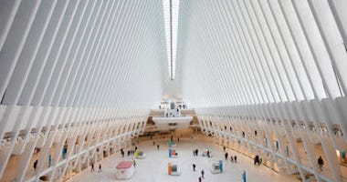 FILE - This March 16, 2020, file photo shows the Oculus at the World Trade Center's transportation hub in New York. (AP Photo/Mark Lennihan, File)