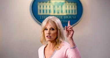 FILE - In this Dec. 5, 2019, file photo, Kellyanne Conway speaks in the Briefing Room at the White House in Washington. (AP Photo/Andrew Harnik, File)