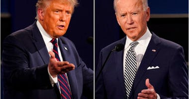FILE - This combination of Sept. 29, 2020, file photos shows President Donald Trump, left, and former Vice President Joe Biden during the first presidential debate at Case Western University in Cleveland, Ohio. (AP Photo/Patrick Semansky, File)