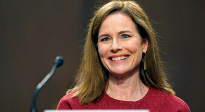 Supreme Court nominee Amy Coney Barrett speaks during a confirmation hearing before the Senate Judiciary Committee, Tuesday, Oct. 13, 2020, on Capitol Hill in Washington. (AP Photo/Susan Walsh, Pool)