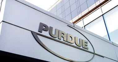 FILE - This Tuesday, May 8, 2007, file photo shows the Purdue Pharma logo at its offices in Stamford, Conn. (AP Photo/Douglas Healey, File)