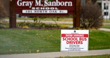 A hiring sign shows outside of Gray M. Sanborn Elementary School in Palatine, Ill., Thursday, Nov. 5, 2020. (AP Photo/Nam Y. Huh)
