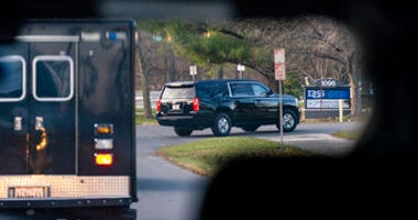 motorcade with President-elect Joe Biden aboard arrives at Delaware Orthopaedic Specialists to see a doctor, Sunday, Nov. 29, 2020, in Newark, Del. Biden slipped while playing with his dog Major, and twisted his ankle. (AP Photo/Carolyn Kaster)