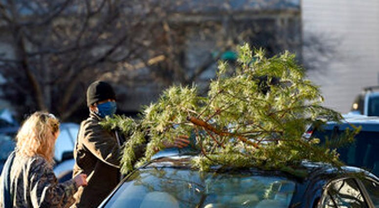 Parker Vivier and Marsden Olsen, both of Richmond, prepare to tie their tree to their car after purchasing from Frank Pichel's tree lot, Sunday, Dec. 6, 2020, in Richmond. (AP Photo/Will Newton)