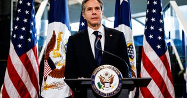 Newly confirmed Secretary of State Antony Blinken addresses a welcome ceremony at the State Department, Wednesday, Jan. 27, 2021 in Washington. (Carlos Barria/Pool via AP)