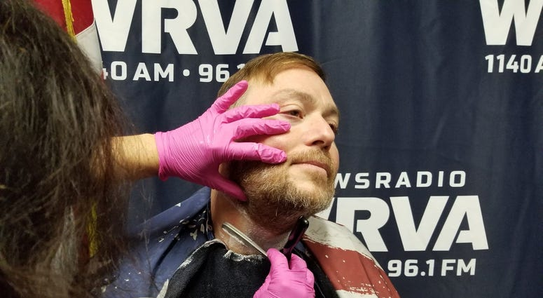 Jeff getting shaved