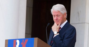Former President Bill Clinton speaks during the Celebration of the Life of Robert F. Kennedy at Arlington National Cemetery in Arlington, Wednesday, June 6, 2018.  (AP Photo/Cliff Owen)