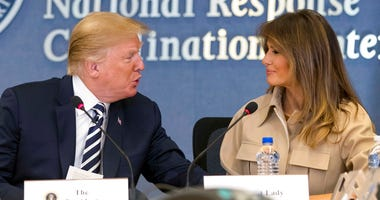 President Donald Trump, accompanied by first lady Melania Trump, speaks at a briefing on this year's hurricane season at the Federal Emergency Management Agency Headquarters, Wednesday, June 6, 2018, in Washington. (AP Photo/Andrew Harnik)