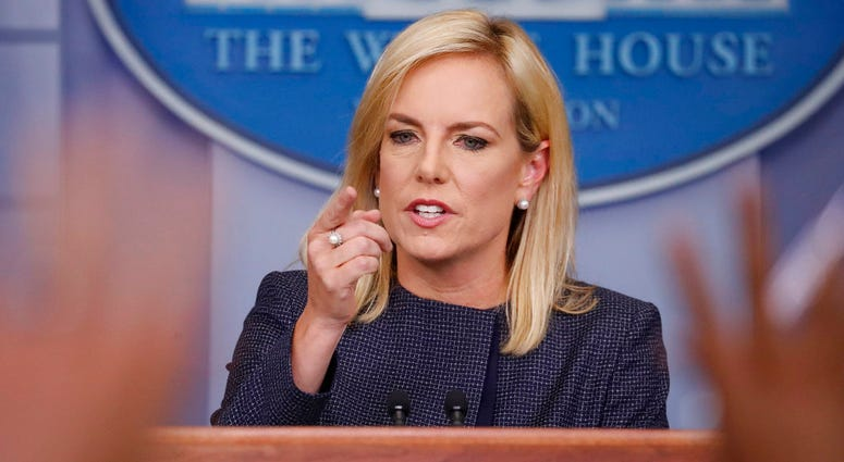 In this June 18, 2018 photo, Homeland Security Secretary Kirstjen Nielsen speak to the media during the daily briefing in the Brady Press Briefing Room of the White House.(AP Photo/Pablo Martinez Monsivais)