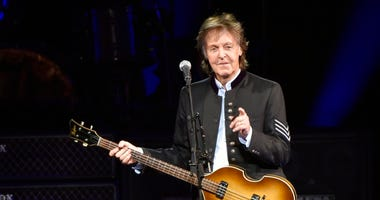 FILE - In this July 26, 2017 file photo, Paul McCartney performs on the One on One Tour at the Hollywood Casino Amphitheatre in Tinley Park, Ill. (Photo by Rob Grabowski/Invision/AP, File)