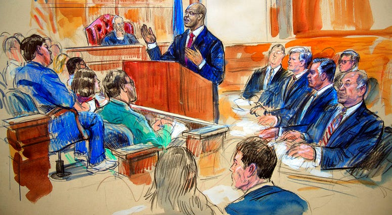 This courtroom sketch depicts Paul Manafort, seated right row second from right. (AP Photo/Manuel Balce Ceneta)